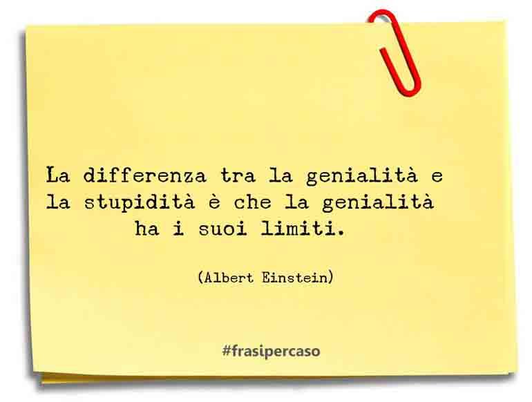 La differenza tra la genialità e la stupidità è che la genialità ha i suoi limiti.