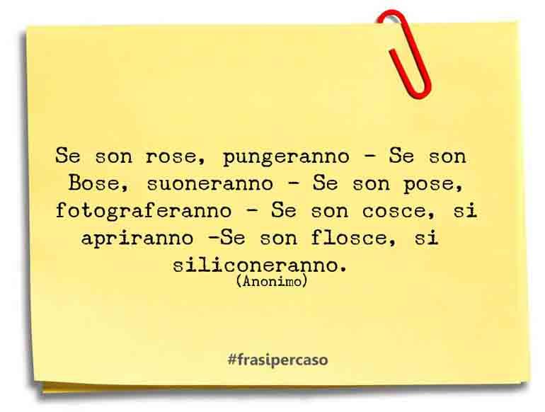 Se son rose, pungeranno - Se son Bose, suoneranno - Se son pose, fotograferanno - Se son cosce, si apriranno -Se son flosce, si siliconeranno.